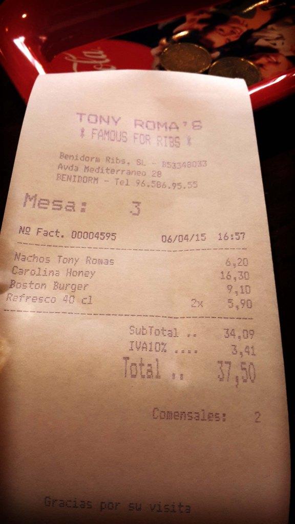 Restaurante en Benidorm Tony Romas, la cuenta.