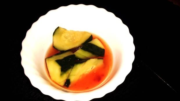 Restaurante japonés Benidorm , pepino en salsa agridulce.