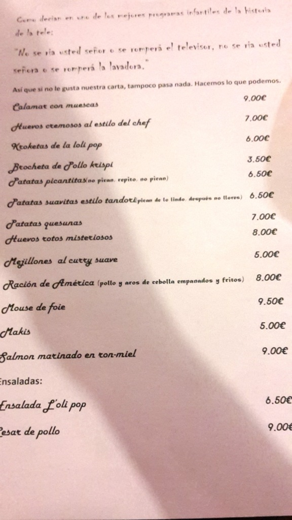Lóli pop Benidorm, la carta