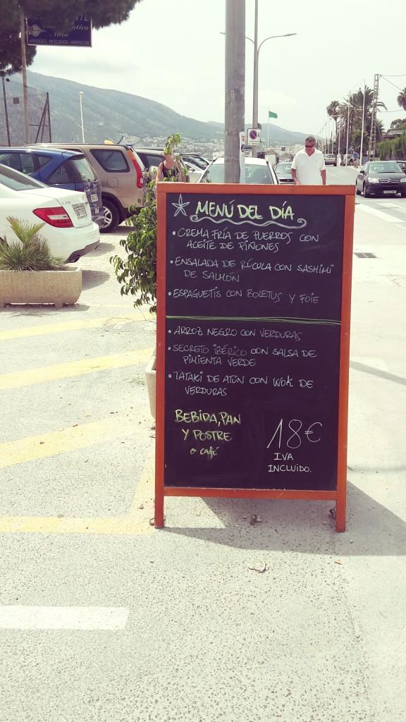Restaurantes en Altea, Can Tapetes del Port, el menú.