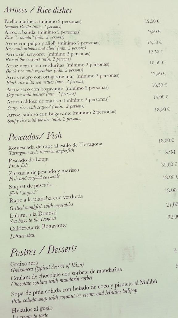 Restaurantes en Altea, menú del Can Tapetes del port.