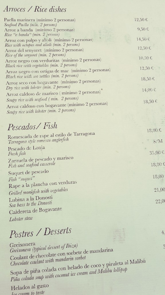 Restaurantes en Altea, menú del Can Tapetes del port.