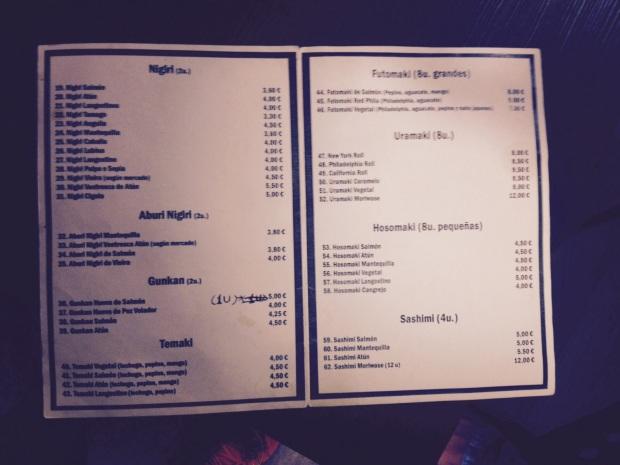 Restaurante japonés Alicante Kitagawa. La carta.