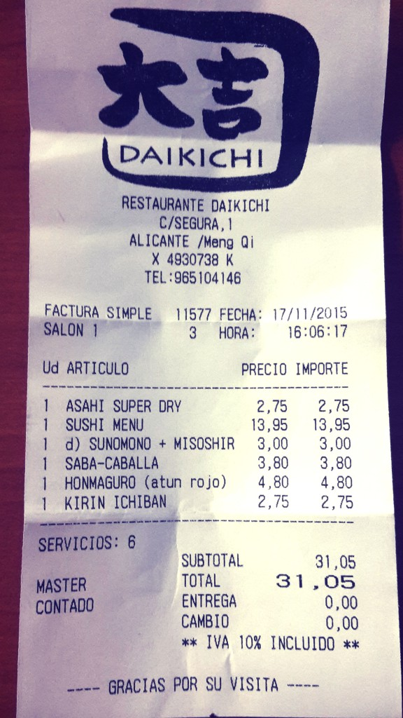 Restaurante japonés Alicante, la cuenta.