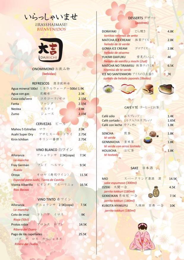Restaurante japonés Alicante, la carta.