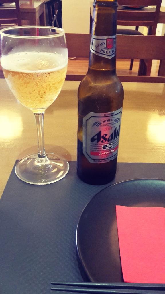 Restaurante japonés Alicante cerveza Asahi.