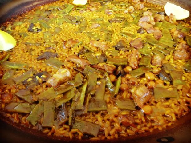 Restaurante Modestro Finestrat , paella de verdura y magro.
