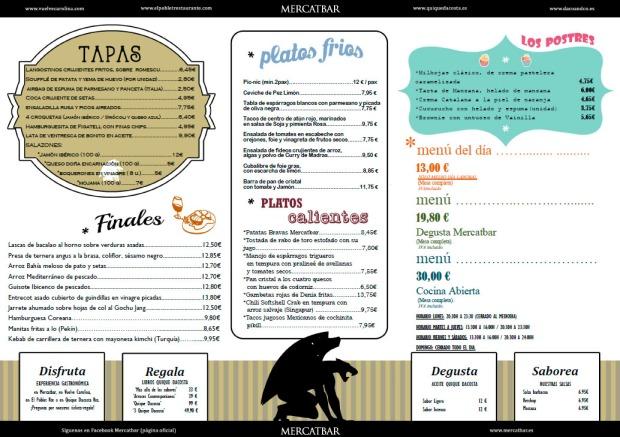 Carta del restaurante Mercatbar en valencia del cocinero Quique Dacosta.