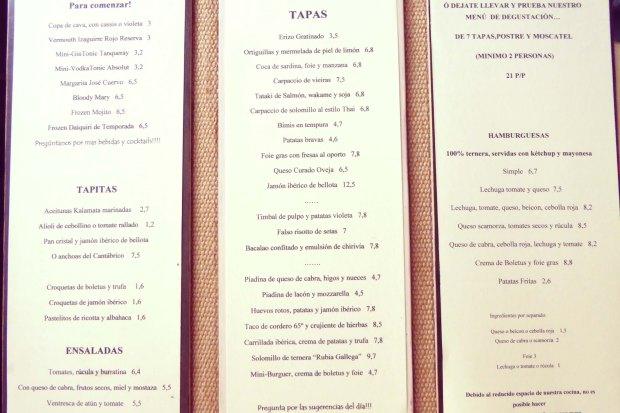 Restaurantes en Altea, la carta.