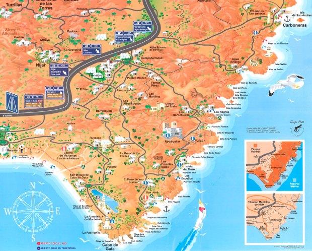 Mapa de la zona de San José y Cabo de Gatal
